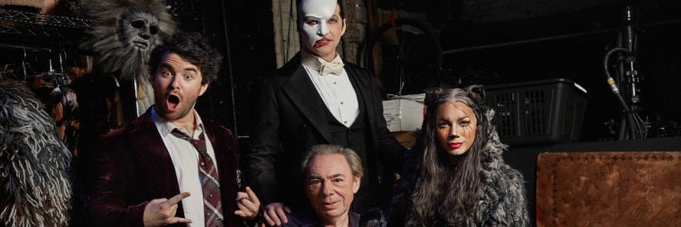 Andrew Lloyd Webber with Alex Brightman, James Barbour, and Leona Lewis (Nathan Johnson)