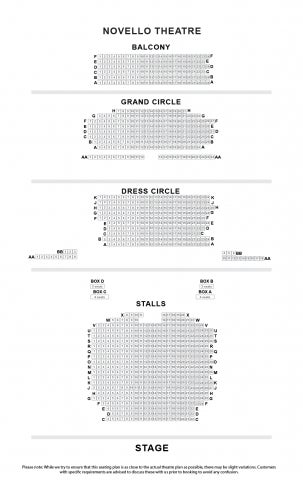 Novello Theatre seat plan