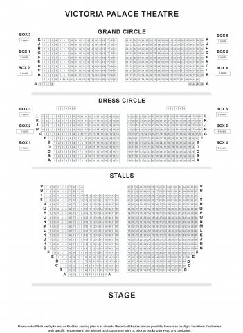 Victoria Palace Theatre seat plan