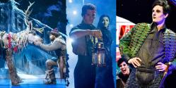 Photo credit:Sven and Obioma Ugoala in Frozen, Alistair Brammer and Laura Pick in Wicked and Magic Goes Wrong (Photos by Johan Persson, Matt Crockett and Robert Day respectively)