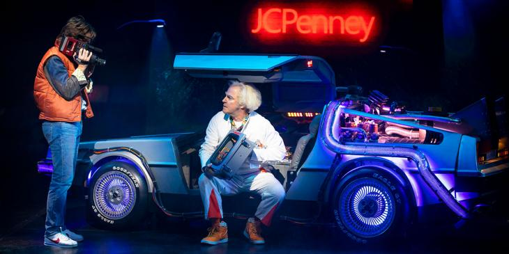 Olly Dobson and Roger Bart in Back to the Future: The Musical (Photo by Sean Ebsworth Barnes)
