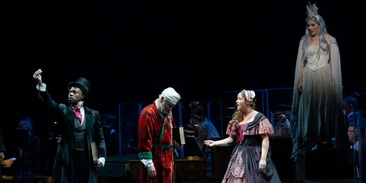 Sam Oladeinde, Brian Conley, Jacqueline Jossa, and Lucie Jones in A Christmas Carol at the Dominion Theatre.