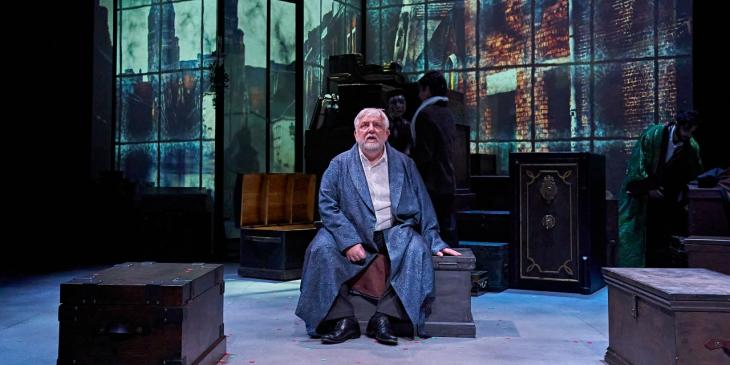 Simon Russell Beale in A Christmas Carol at the Bridge Theatre (Photo by Manuel Harlan)