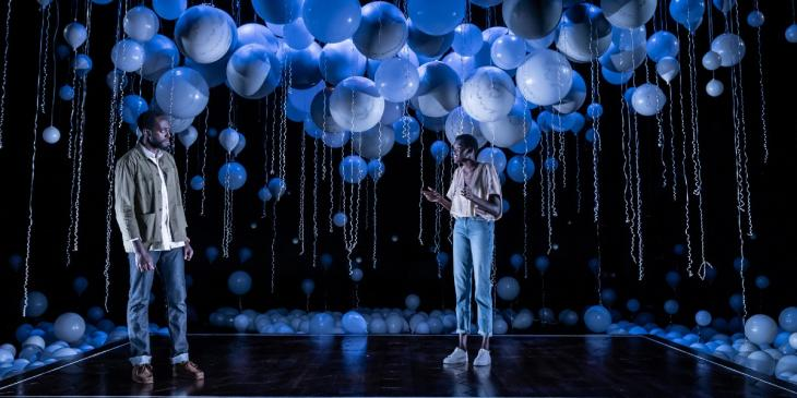 Photo credit: Sheila Atim and Ivanno Jeremiah in Constellations (Photo by Marc Brenner)