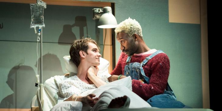 Photo credit: Andrew Garfield and Nathan Stewart- Jarrett in Angels in America (Photo by Helen Maybanks)
