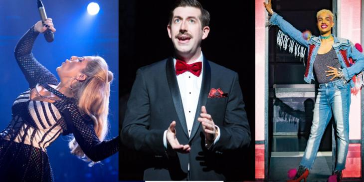 Photo credit: Natalie Paris in Six, The Play That Goes Wrong and Noah Thomas in Everybody's Talking About Jamie (Photos by Eleanor Howarth, Helen Murray and Matt Crockett)