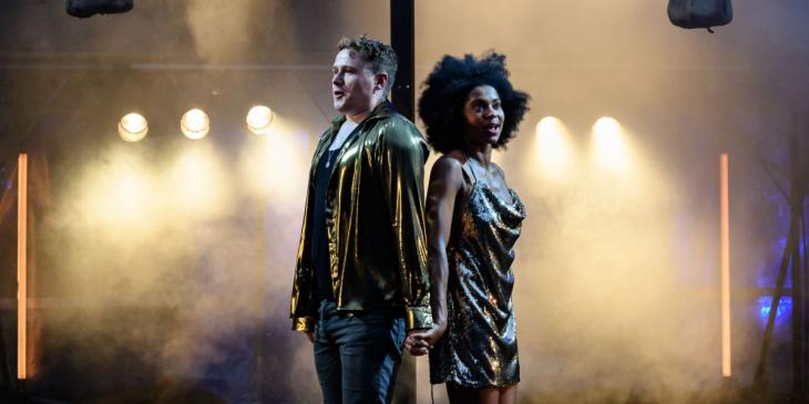 Photo credit: Joel MacCormack and Isabel Adomakoh Young as Romeo and Juliet (Photo by Jane Hobson)