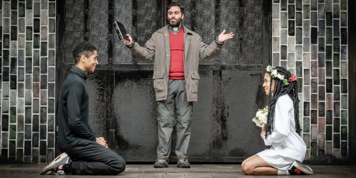 Photo credit:Alfred Enoch as Romeo, Rebekah Murrell as Juliet, Sargon Yelda as Friar Laurence (Photo by Marc Brenner)