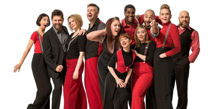 Photo credit: Cast photo (Photo by Hugo Glendinning) and the cast of The Showstoppers at The Other Palace (Photo by Alex Harvey-Brown)