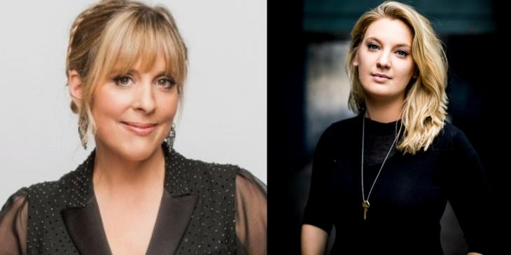 Photo credit: Mel Giedroyc and Isla van Tricht (Photos by Guy Levy and courtesy of Southwark Playhouse respectively)