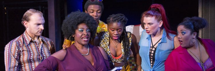 The cast of The Life at Southwark Playhouse. Photo by Conrad Blakemore