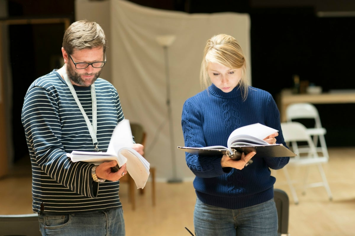 David Eldridge and Polly Findlay in rehearsals for Beginning