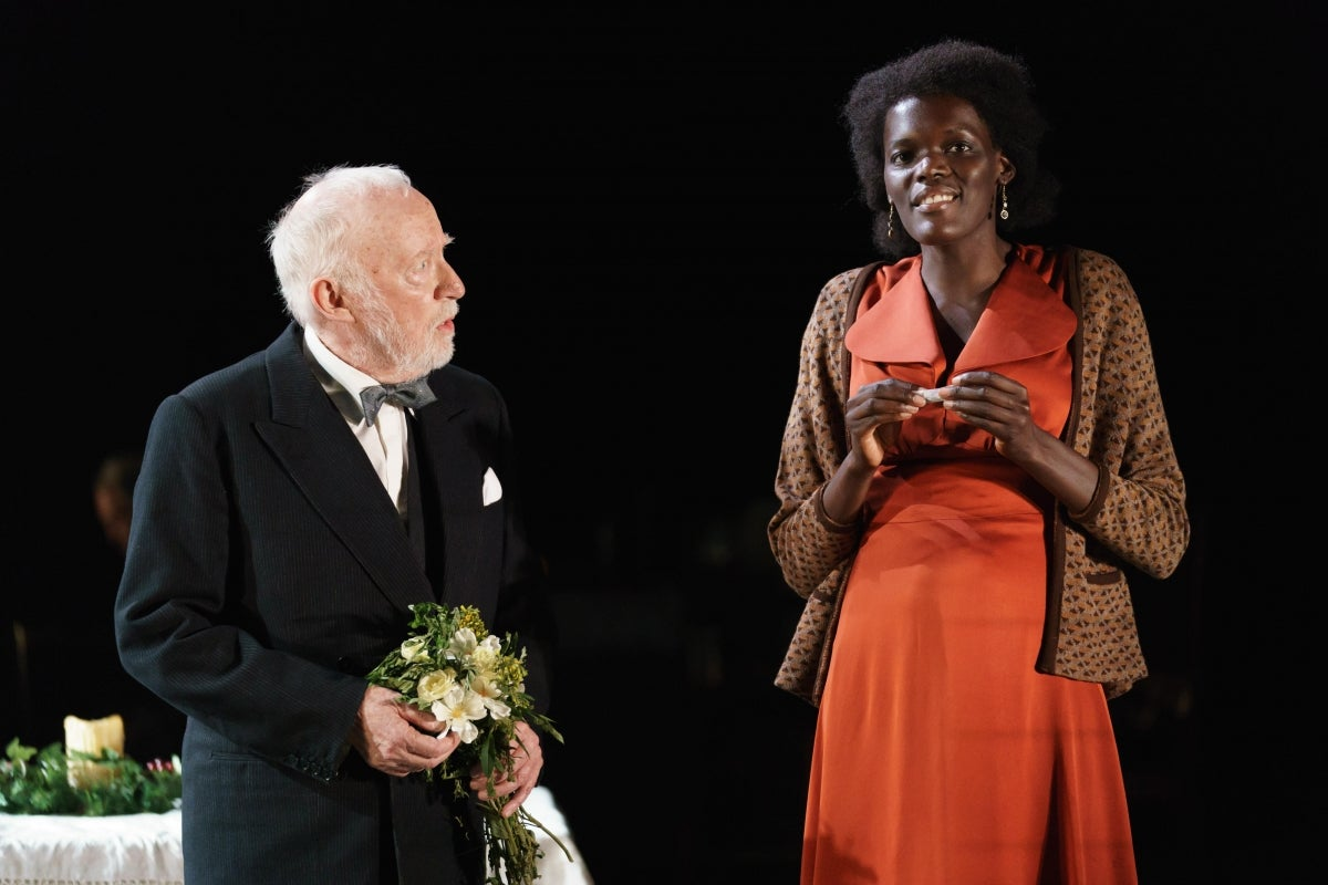 Jim Norton (Mr Perry) and Sheila Atim (Marianne Laine)