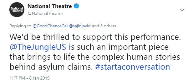 Tweet by the National Theatre
